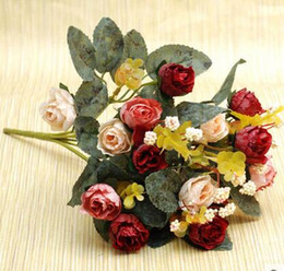 Wholesale Cheap Silk Red Roses - european style rose silk rose flower home room decoration good quality cheap price hot sell free shipping