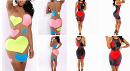Wholesale Black Mesh Panel Maxi Dress - Sexy black red heart patchwork mesh dresses women summer O-Neck sleeveless hollow out bodycon bandage maxi cocktail party dress