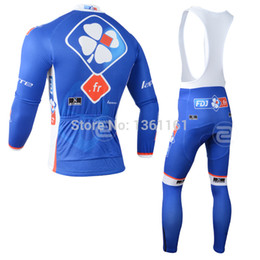 Wholesale Team Fdj - Wholesale-2015 fdj fr winter thermal fleece cycling jersey long sleeve and bib pants gel pad bike clothing team riding wear ropa ciclismo