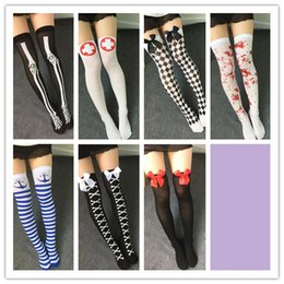 Wholesale Japanese Socks Female - 2016 Fashion New Cosplay Halloween Stripe Knee-high Sillk Stockings Japanese Printing Stockings Color Female Thigh High Sexy Socks 7styles