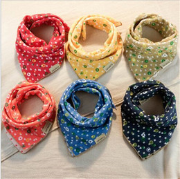 Wholesale Cotton Gauze Bibs - 2016 baby bibs big size cotton towel baby slobber double gauze scarf handkerchief 5 pcs for sales randomly delivered A022106