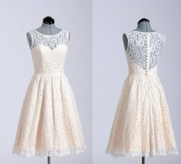Wholesale Wedding Party Bone Dresses - Lace Bridesmaid Dresses 2015 A Line Short Coral Lavender Knee Length Custom Made In Stock For Wedding Party Cheap Homecoming Dresses