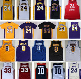 Wholesale Basketball Bryant - Top Quality 24 Kobe Bryant Jersey Purple Black White Yellow Throwback 8 Kobe Bryant 33 Lower Merion High School College Basketball Jerseys