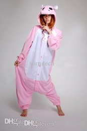 Wholesale Hippo Pajamas Costume - Wholesale-Free Shipping Women Lady Ladies Animal Pink Hippo Onesie for Adult Cos Pajamas Cosplay Costume Winter Spring Sleepwear S-XL