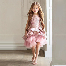 Wholesale Toddlers Wedding Shirts - Gorgeous Pink Toddler Flower Girl Dresses Knee Length Pageant Prom Party Gowns Sleeves Beads Kid Formal Communion Dress