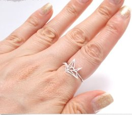 Wholesale Brass Coupling - 10pcs lot New arrival New Origami Crane ring,statement ring,couple ring JZ252
