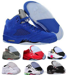 Wholesale Black Cement - With Box 2018 air retro 5 V Olympic metallic Gold White Cement Man Basketball Shoes OG Black Metallic red blue Suede Sport Sneakers