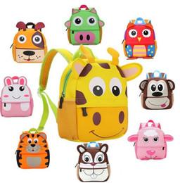 Sac à dos animal 3d enfants en Ligne-10 Style Enfants 3D Mignon Animal Design Sac À Dos Enfant Toddler Enfant Néoprène Sacs D'école Maternelle Cartoon Sac Confortable Girafe Singe Hibou