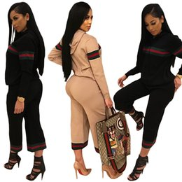 Wholesale Sexy Women Spandex Wear - 2017 New arrive famous brand print two piece set women club wear clothing sexy jacket and pant long sleeve 2 piece outfit
