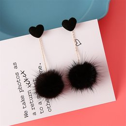 Wholesale Gifts For Korean Girls - Plush Fur Pompom Drop Earrings For Women Ladies Korean Cute Earrings with Pompoms Girls Party Jewelry Accessories Gift Sales