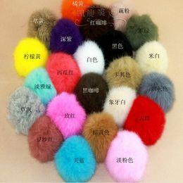 Wholesale Rabbit Dust Plugs - Wholesale-5PCS 8CM Rabbit Fur Ball Key Chain Mobile Phone Tag Pendant Dust plug Accessories Free Shipping 10 Colors for Selection bz671434
