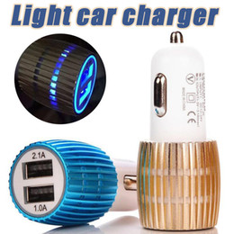 Wholesale Light Blue Iphone Charger - Travel Adapter Dual USB Car Charger Metal 2 Ports Blue Led Light 2.1A Round Square Car Plugs Adapter For iPhone Samsung Huawei
