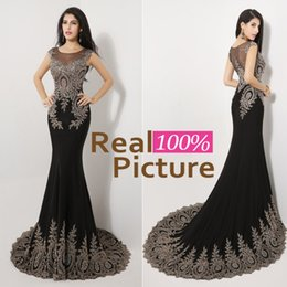 Wholesale Sequined Designer Evening Dresses - Sexy Mermaid Crystal Prom Party Dresses with Sheer Lace Back 2015 Black IN STOCK Jewel Beaded Formal Evening Gowns Dresses for Women 2014