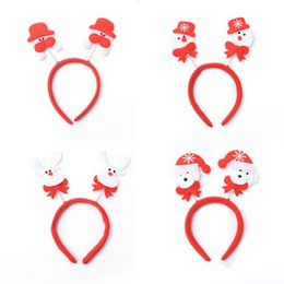 Wholesale Reindeer Head - Christmas Hair Bands Santa Snowman Reindeer bear head bands christmas party accessories cute fun good quality holiday hairbands