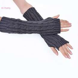 Wholesale Long Gloves For Men - Wholesale-Women Arm Warmers Long Gloves Hand Knitted Half Warmer Glove For Women