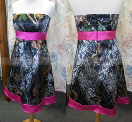 Wholesale Champagne Colored Knee Length Dress - Rose Red Camo Wedding Dresses 2015 Strapless Summer Beach Short Wedding Dress Knee-length Colored Bridal Gowns Vestidos de Novia