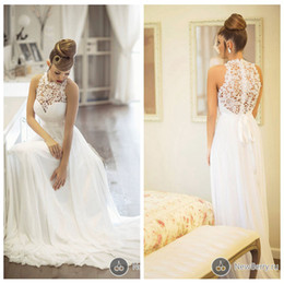 Wholesale Sleeveless Illusion Lace - Custom Made A Line Wedding Dresses 2016 Lace Sheer Crew Sleeveless Illusion Back White Bridal Gowns Floor Length Chiffon Sash Cheap Modest