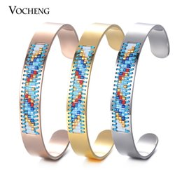 Wholesale Stainless Cuffs Female - Stainless Steel Bangle Friendship Bracelet Bohemia Seed Bead Handmade Jewelry Female Cuff Bangle 3 Colors M-005