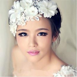 Wholesale Pearl Frontlet - 2015 Hot Bridal Lace Flowers Crown Crystal Bridal Headdress Wedding Frontlet Pearls Girl Head Wreath Handmade Hair Accessories