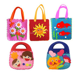 Wholesale Needle Crafts - Children Gift DIY Craft Kit - Felt Bag with non-woven sheets knitting wool and needle - 30 sets lot wholesale