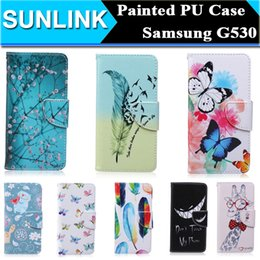 Wholesale Giraffe Butterfly - Painted Flowers Butterfly Bear Giraffe PU Leather Stand Wallet Case Pouch Don't Touch My Phone Cover for Samsung Galaxy Grand Prime G530