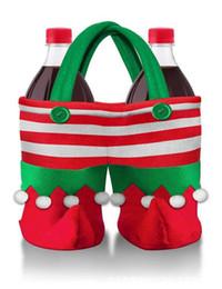 Chaussures en gros cadeaux de noël en Ligne-En gros-2017 Joyeux Noël 1x Clown Chaussures Bouteille De Vin Boissons Sacs À Main De Noël Suspendus Ornements Cadeau Sac De Bonbons Fournisseur SD66