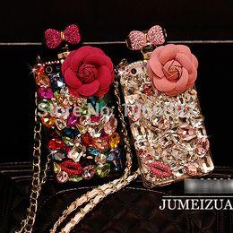 Canada En gros-luxe Bow Crystal Flower Bling bouteille de parfum cas de la chaîne TPu pour iPhone 5s 5 4s 4 6 6 plus NOte 4 3 2 S6 S5 S4 S6 Edge supplier iphone 4s bottle Offre