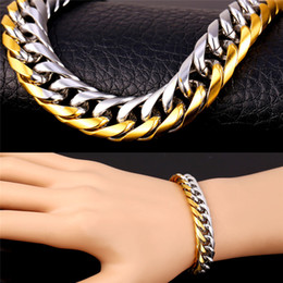 Wholesale Gold Rhinestone Bracelets - U7 Hiphop Gold Bracelet Men Jewelry Two Tone Gold Plated Trendy 11 MM 23 CM Thick Rock Perfect Party Gift Men Accessories