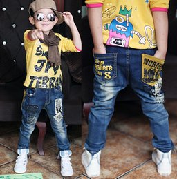 Wholesale Han Clothing Wholesale Jeans - 2015 Hot sale new 5-13Y children's clothing boys wild baby jeans children trousers new Han edition jeans Big boy's jeans