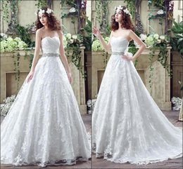 Wholesale Cheap Plus Sized Corsets - 2016 Romntic Cheap Lace Backless Wedding Dresses Vestios Sweetheart Beaded Ribbon Corset Back Bridal Gowns with Sweep Train