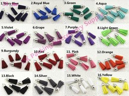 Wholesale Leather Tassels Wholesale - 100 Pieces 38 mm Mixed Color Leather Tassel With Silver Caps Faux Suede Tassel For DIY Fiber Fringe Tassel Charms