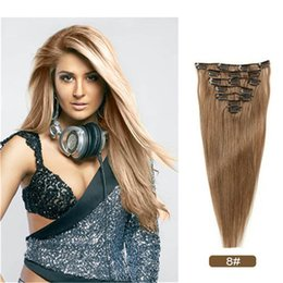 Wholesale human hair extensions full set - 70g Clip in Remy Human Hair Extensions Full Head 7 Pieces Set Straight Very Soft Style Real Silky for Beauty