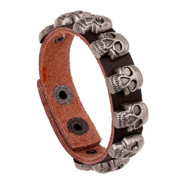 Wholesale Skull Rivets For Leather - Fashion Multicolor PU Leather Bracelets Alloy Skull Rivets Leather Bracelets Jewelry for Men Free Shipping SB01586
