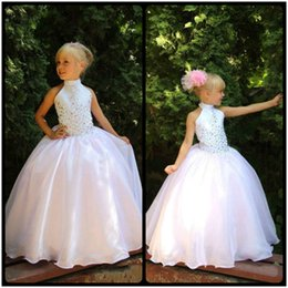 Wholesale Girls Cute Lace Collar Dresses - Cute High Neck Flower Girls' Dresses with Lace Appliques Floor Length White Organza Ball Gown First Communion Dresses for Girls