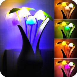 Wholesale Color Change Led Mini Lights - Romantic Colorful Mini Lovely LED Light Control Cute Color Changing Mushroom Bedside Night Light Energy Saving Lamp Sensor CYA13