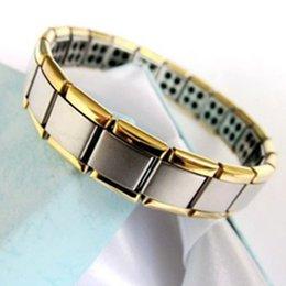 Wholesale Anion Germanium Bracelet - Wholesale-Fashion Anion Health Bracelet Energy Bracelets With 80 Germanium Stone Golden side Free Ship 2pcs lot