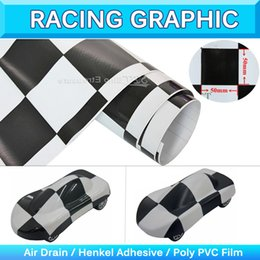 Wholesale Wholesale Custom Car Decals - Checker Racing F1 Auto Car Vinyl Checker Decal Flag Side Stripe Chequer Sticker Wrap Custom Graphic Decal Air Free 1.52x30m