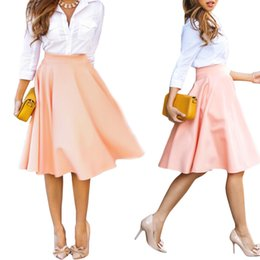 Wholesale Womens Pink Ball Gown - S5Q Womens Summer Midi Ball Dress Autumn Lady Casual Long A Line Pleated Elegant AAAEKP