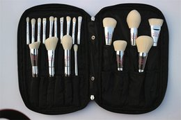 Wholesale Bag Concealer - 2017 Professional 19pcs Makeup Brush Set Live Beauty Fully Silver Cosmetic Brushes Kit With Bag Face Eyes Make Up Collection Tools