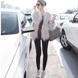 Wholesale Long Grey Fur Coats - Autumn Winter Grey Color Fake Mongolia Sheep Fur Coat Long Fur Jackets for woman High Quanlity White Full Sleeve O-Neck