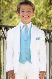 Wholesale Complete Black Suit - Two Buttons Fashionable Kid Complete Designer White Notch Lapel Boy Wedding Suit Boys' Attire Custom-made (Jacket+Pants+Tie+Vest) 50