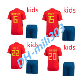 Wholesale Boys Shirts Sale - New Spain kids Jersey 2018 ISCO PIQUE SERGIO RAMOS A. INIESTA M. ASENSIO THIAGO MORATA home soccer shirt Football uniforms sales Spain kits