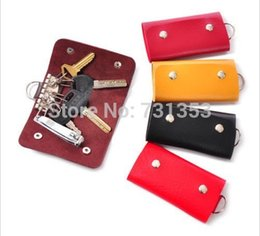 Wholesale Cheap Black Candy - Wholesale-2015 New Fashion Mini Key Wallets,Cheap Candy Colors PU Leather Bags For Key Holders 5pcs lot