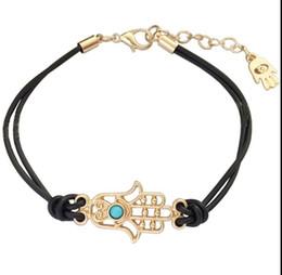 Wholesale Muslim Bracelets - Fashion Women Leather Lucky Hamsa Hand Charm Bracelets Fatima Muslim Religious Bracelet Jewelry For women 4 colors option