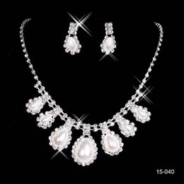 Wholesale pearl settings - 2015 Bridal Jewelry Wedding Bridal Rhinestone Accessories Necklace and Earring Ear Stud Style Sets Silver Plated Simulated-pearl 15040