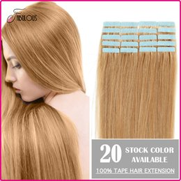 "Wholesale Cheap Taped Hair Extensions - Cheap Tape Hair Extenisons 16"" 18"" 20"" 22"" 24"" 20pcs set Remy Human Hair Tape Hair Skin Weft Brazilian Hair Extension Big Promotion"