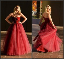 Wholesale Nude Embellished Gown - 2015 Embellish Tulle Evening Dresses High Quality Burgundy Sweetheart Corset Prom Party Dress Backless A-Line Women Special Occasion Gowns