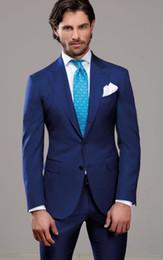 2019 abito classico di colore navy Abiti da sposo per uomo, uomini e sposo, colore blu, vestibilità comoda, due bottoni, due grembiuli da uomo abito classico di colore navy economici