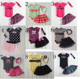 Wholesale Leopard Lace Baby Girl Clothes - 15 Styles Baby Kids 3pcs Clothes Romper + Tutu Skirt + Headband Set Fashion Leopard Dots Skull Lace Tutu Outfits Children Romper C001
