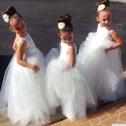 Wholesale Flowergirl Wear - 2016 New Cheap Sweety Flowergirl Dresses Tulle Long Floral Dress Pageant Gowns First Communion Wear Gowns Free Shipping Bithday Dress shj